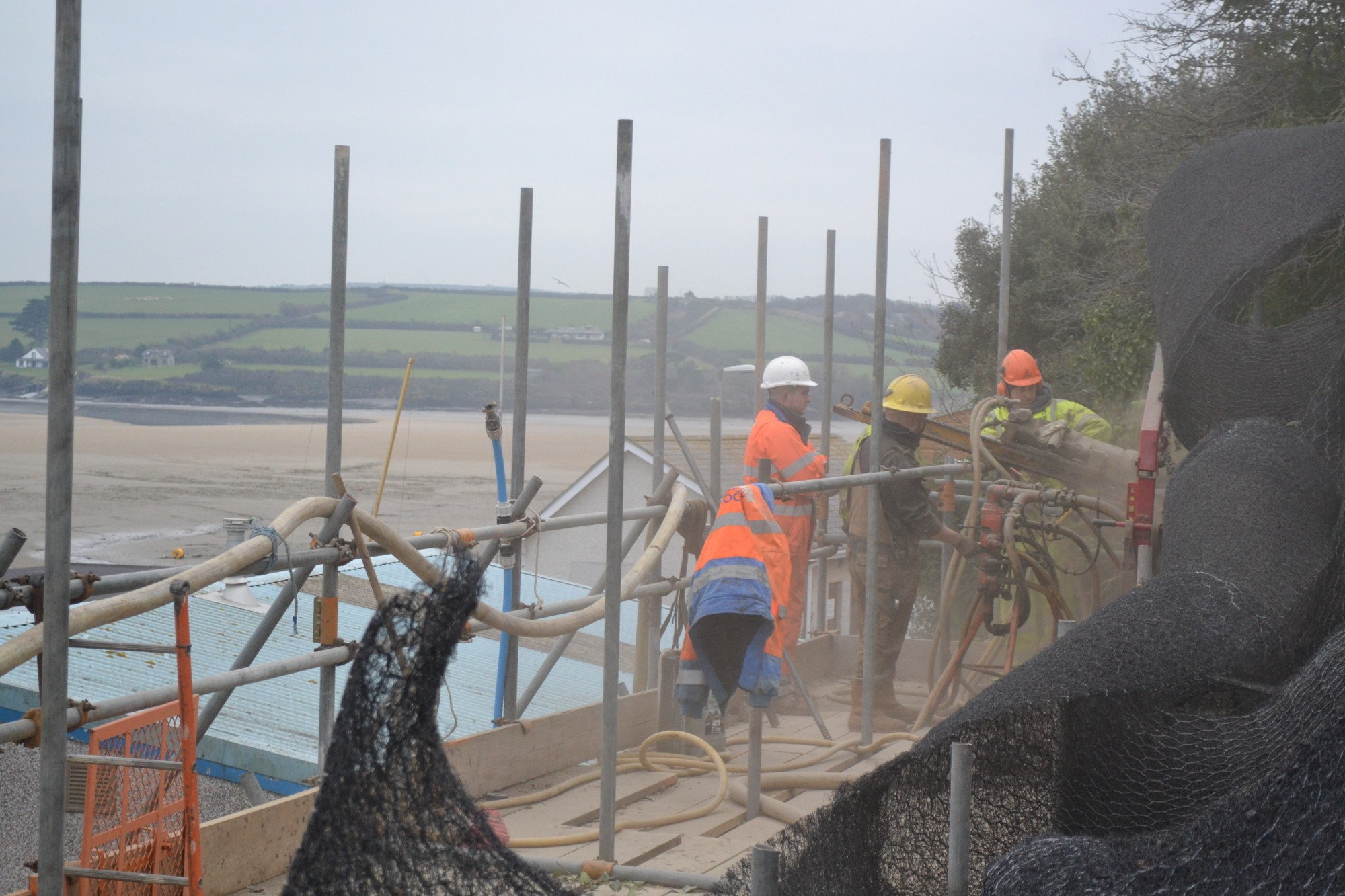 Hollow bar anchors being installed in Padstow